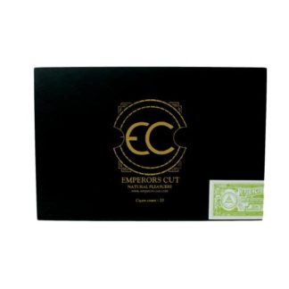 black rectangle cigar box cover with Emperors Cut logo
